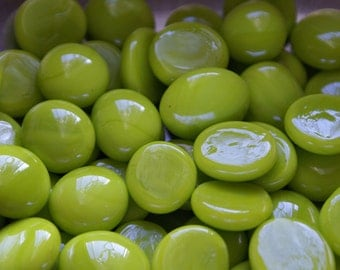 Lime Opal Gems,  Nuggets, Flat Backed 25ct. Mosaic Tiles