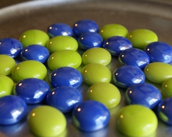 Lime and Tuscany Blue Collection of Gems, Nuggets, Flat Backed  Mosaic Tiles/Glass/Cabochons 30 ct.