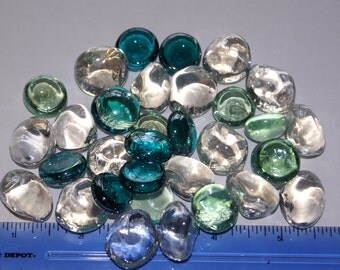 Teal/Mint Green Collection , Nuggets, Flat Backed,  60ct. Mosaic Tiles