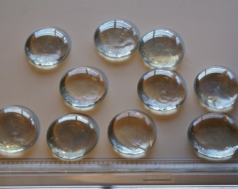 Clear Lustre Jumbo Nuggets, Flat Backed, Mosaic Tiles  Round 10ct.