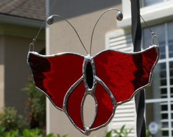 "Cherry Red Waterglass Stained Glass Butterfly 6"" x 5"""
