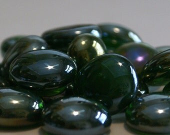 Tuscan Deep Green Luster Gems, Nuggets, Flat Backed 30ct.