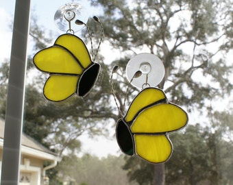 "Yellow Opalescent Stained Glass Butterfly 4.5"" x 3"" Suncatcher from Right Side view"