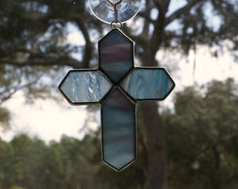Stained Glass Cross - Blue and Purple and Pink Textured Glass Cross  - Ornament or Package Embellishment