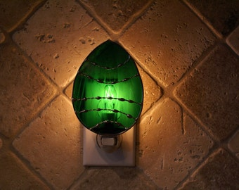 Stained Glass Night Light in Green Wispy Iridescent - Easter Egg Night Light - Original Designed Handcrafted Authentic Stained Glass