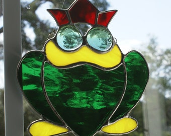 """Whimsical """"Frog Prince"""" Suncatcher in Brilliant Green Waterglass"""