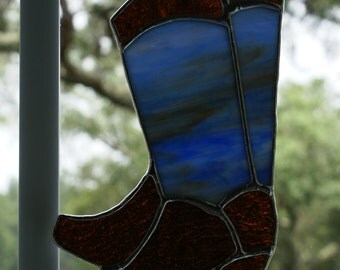 """Blue Mixed Mottled Opalescent Glass """"Cowboy Boots"""" Suncatcher, Number 1"""
