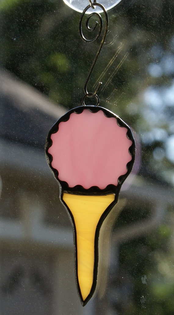 Stained Glass Pink Golf Ball on Tee Ornament for your Christmas Tree or Holiday Package Embellishment
