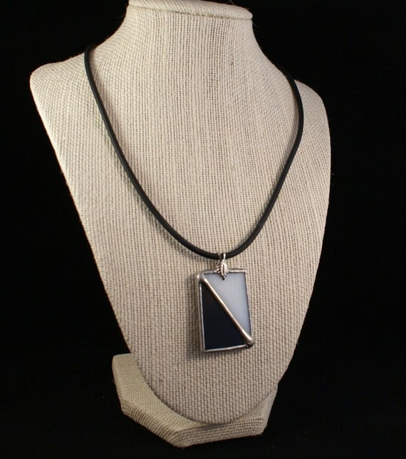 Stained Glass Necklace - Black and White Cathedral Glass - Sterling Silver Lobster Clasp and Bail