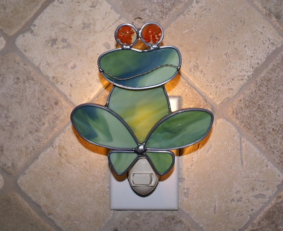 Getting Froggy Whimsical Stained Glass Frog Night Light - Orange Swirl Eyes