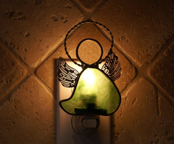 Fern Green Angel Night Light - Handcrafted Authentic Stained Glass - Mother's Day Item