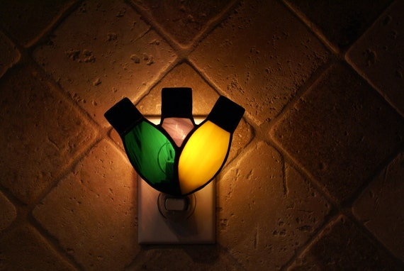 Holiday Ornament Trio Night Light - Handcrafted Authentic Stained Glass -