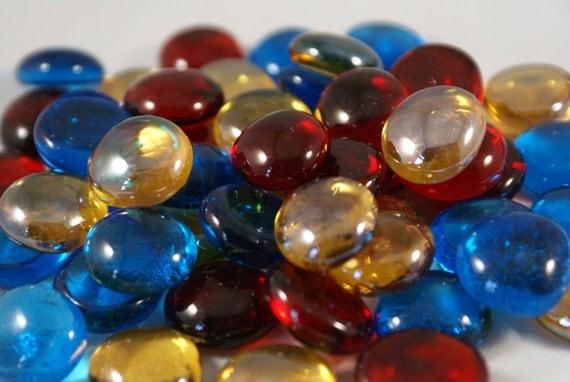 "Mediteranean Jewels Collection  -  Medium Mix Flat Backed 3/4"" Gems Mosaic Nuggets"