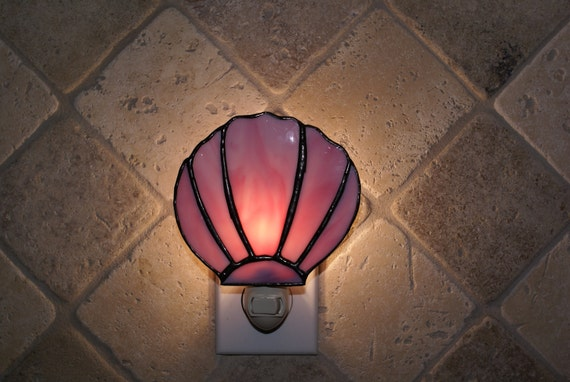 Pink and White Swirled Opalescent Clamshell Night Light - Handcrafted Authentic Stained Glass