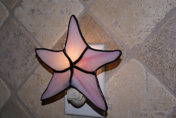 Starfish Night Light in Pink and White Swirled Translucent Glass - Handcrafted Authentic Stained Glass