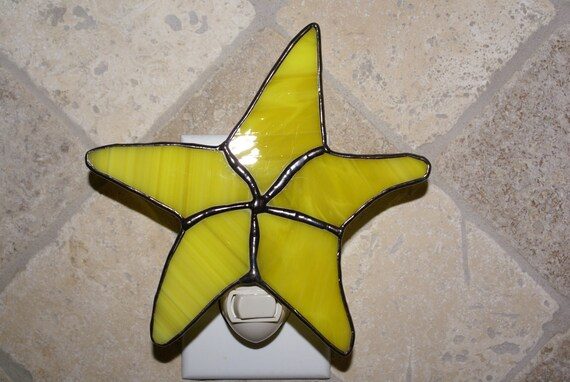 Starfish Night Light in Yellow Wispy Translucent Glass - Handcrafted Authentic Stained Glass
