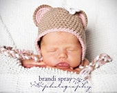 3-6 months Crocheted Photo Prop Bear Girl 15 in. Hat - IN STOCK