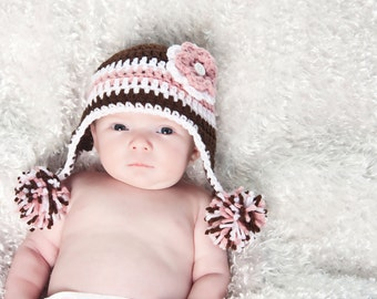 Newborn Crocheted Photo Prop Light Pink, Dark Brown, and White Girl 13 in. Hat - IN STOCK