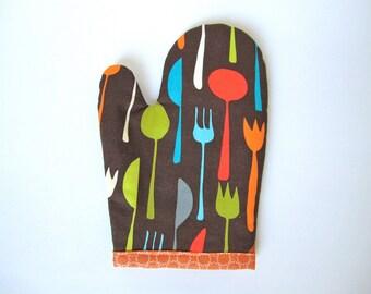 Toddler child oven mitt, pretend play kitchen accessory, boy girl, Kids creative fun gift, mcm, modern, little chef cooking toy