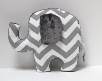 Chevron elephant pillow, ELLE, grey gray nursery, stuffed animal plushie, sensory toy, baby shower gift, modern decor