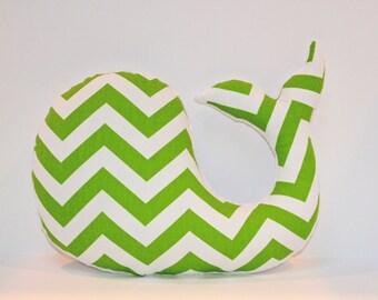 Modern green nursery decor,  chevron whale pillow,  nautical shower gift, stuffed plush