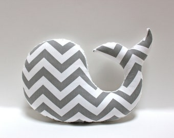 Modern baby Chevron WHALE pillow - nautical nursery decor grey gray white plushie - shower gift for new mom