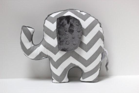 Chevron elephant pillow, ELLE, grey gray nursery, stuffed animal plushie, sensory toy, baby shower gift, modern decor