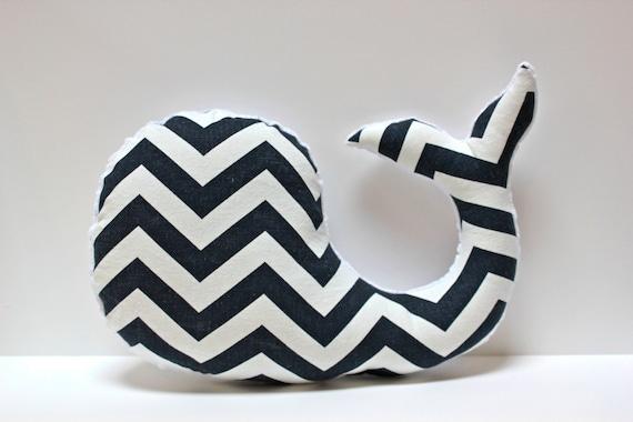 Chevron whale pillow, Modern nursery decor, navy and white, nautical baby shower gift, stuffed plush animal, beach shore theme