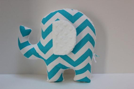 Modern turquoise nursery decor, baby shower gift, handmade elephant pillow, sensory toy, gender neutral