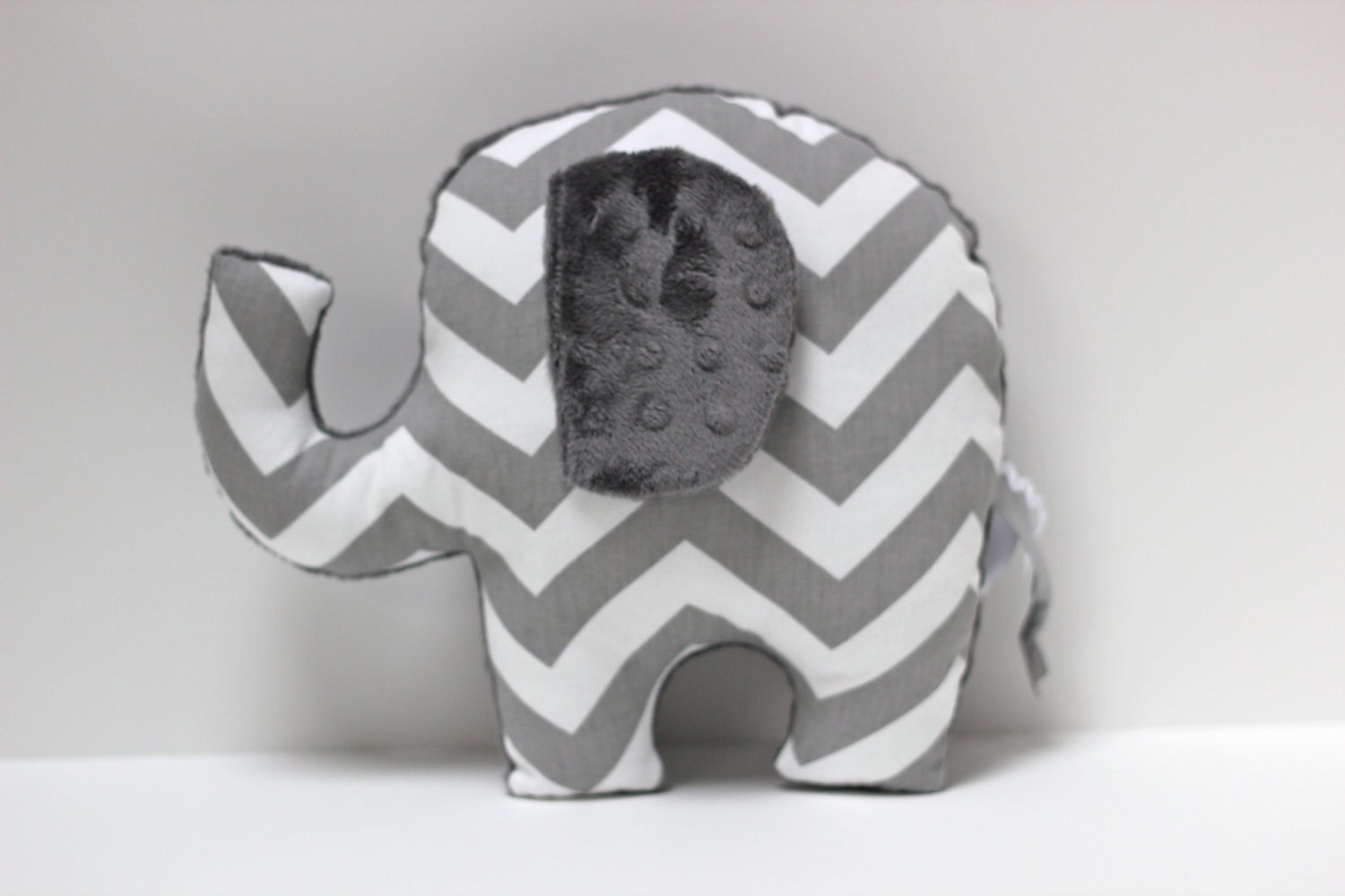 Chevron Elephant Pillow Elle Grey Gray Nursery Stuffed