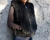 Black Faux Fur VEST. Hooded with front pockets. Wonderful Cosy Stylish Winter Gift. trendy. Faux Fux. Black Fur. Mink. Fur Vest. Rachel Zoe.
