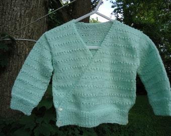 Handmade baby sweater light green size 18 to 24M