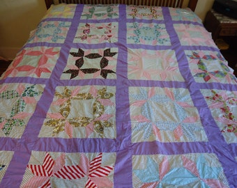 Vintage fool's square quilt top with lavender background