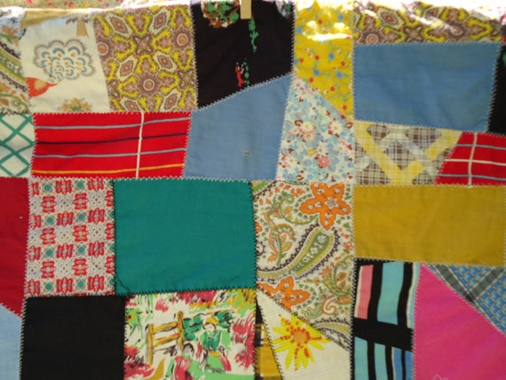 Vintage crazy quilt, pieced with vintage and retro fabric