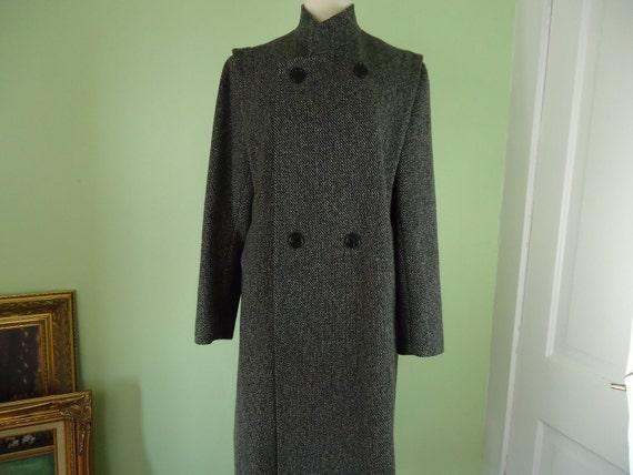 Womens dark gray houndstooth full length 100% wool coat