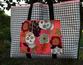 Day of the Dead Sugar Skulls Rockabilly Quilted Tote Handbag SALE