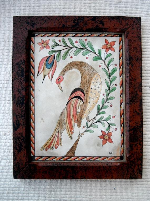Primitive Peacock Fraktur