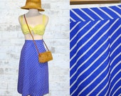 Vintage 70's Air Mail Blue Striped Skirt XXS or XS