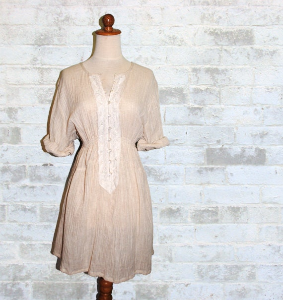 15% YEAR END SALE - The Vintage Ecru Crochet & Gauze Dress