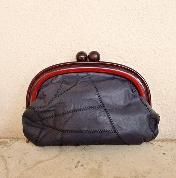 SOLD ------ Vintage Framed Clutch Navy Patchwork Leather