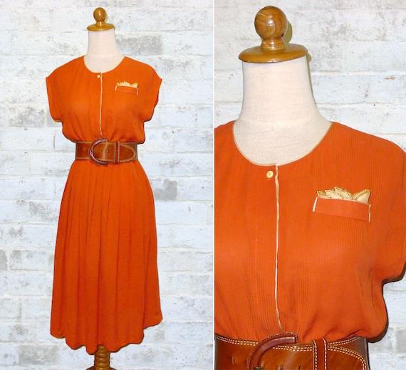 Vintage 70's Orange Dress Handkerchief Pocket XS or S