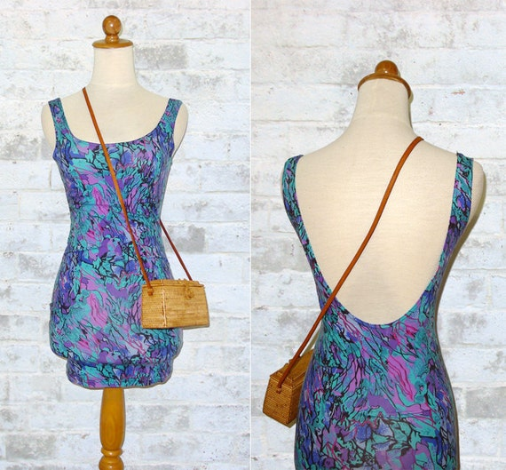 The Vintage 80's Abstract Low Back Bodycon Dress XS or S
