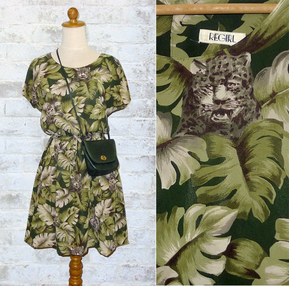 Vintage 80's Leopard Print Wild Dress XS or S