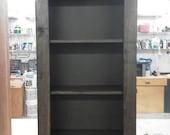 Book Shelf  Wooden Walnut - Free Shipping - Natural Wax Finish