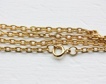 Nautical Gold Cable Chain Necklace (36 Inches)