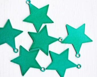 Green Star Charms, Star Charms, Green Charms, Enamel Charms (6x)