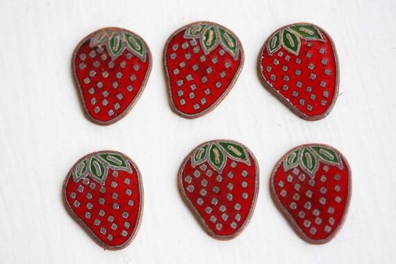 Strawberry Cabochons, Fruit Cabochons, Fruit Charm, Strawberry Charm (6x)