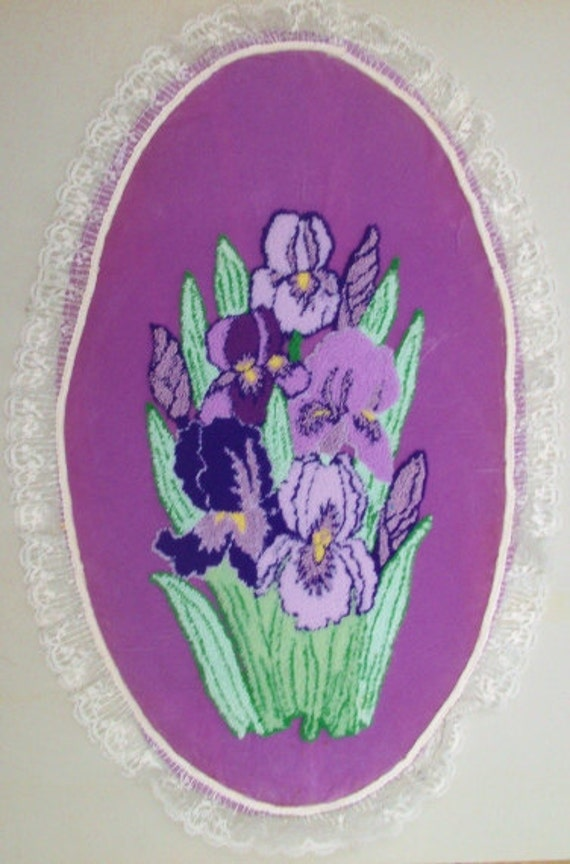 """Vintage Embroidery Punch Needle 20"""" x12"""" Ellipse of of 8 Purple Irises on Purple Velvet.  REDUCED FROM 29."""