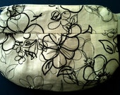Black and White Partially Embroidered Cosmetic Bag Pouch - FREE SHIPPING