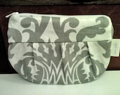 Gray and White Small Cosmetic Bag Pouch with Pink Lining